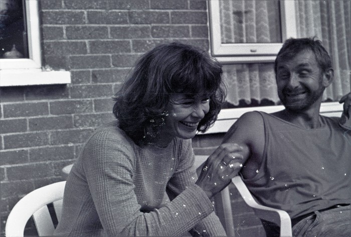 Mum and dodge in garden