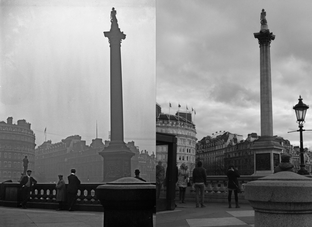 Nelson's Column now and then_BW