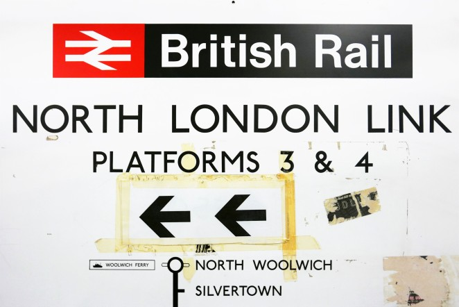 Now the North London Line section of the Overground, this sign from the British Rail days was taken from North Woolwich station, now gone and replaced with a DLR branch.