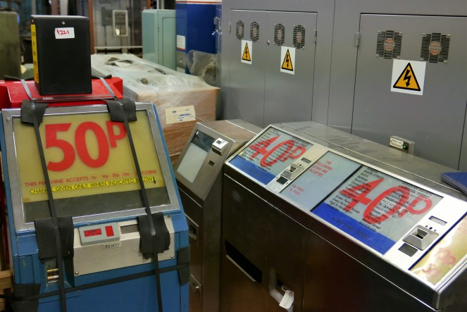 Old style ticket machines. You had to use the machine that dispensed the correct fare for your journey.