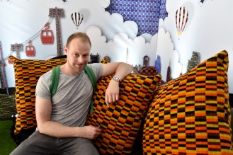 Making myself at home in Moquette Land.