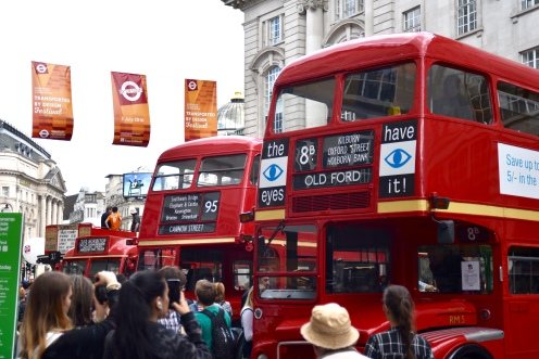 A nice line-up of old London buses.