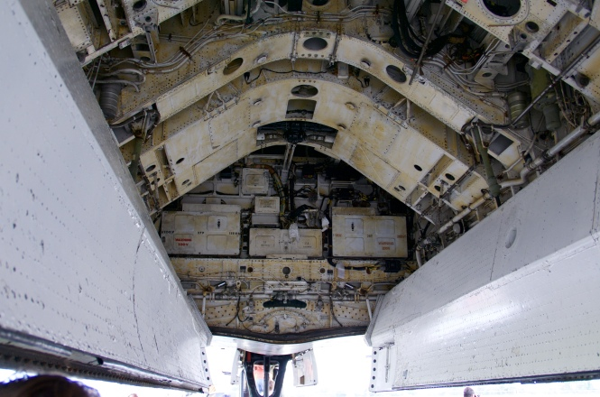 The bomb bay. Whilst the first nuclear bomb it was designed to carry filled the entire compartment, later bombs were much much smaller and didn't need the space. Vulcan bombers were eventually also fitted to carry conventional bombs, up to 21 could be contained in three panniers of seven weapons each.
