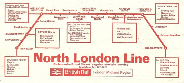 This great old line map shows the North London line in quite a different configuration from today.